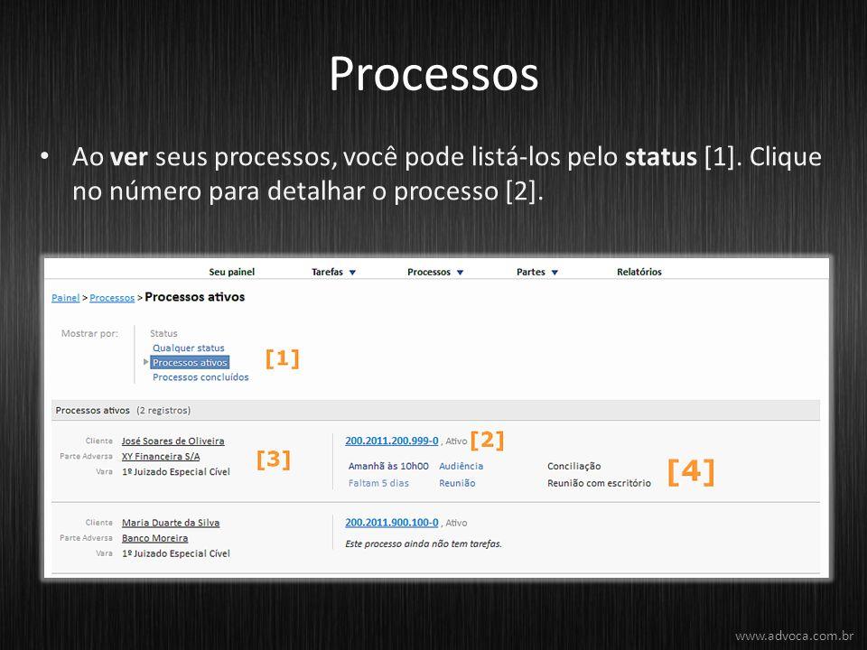 Processos Ao ver seus processos, você pode listá-los pelo status [1]. Clique no número para detalhar o processo [2].